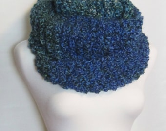 Blue and Green Winter Scarf, Hand Knit Chunky Infinity Scarf, Wool Free. Ships Free in USA