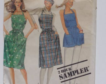 Vintage 1983 McCall's 0012 Apron Wrap Dress and Top XS, S, M, L