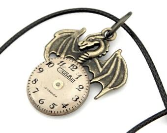 Spooky Dragon - Dragon Clockworks Pendant - Mythical Dragon Necklace - Fantasy Dragon Pendant - Steampunk Dragon - Winged Serpent Pendant