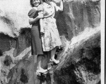 Vintage Photo..Rock Climbers, 1930's Original Found Photo, Vernacular Photography