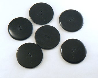 6 - 34 mm Plastic Black  Buttons -  Large Black Glossy 2 Hole Buttons - Coat Buttons - Plastic Sewing Buttons - Plain Black Buttons #B-04-07