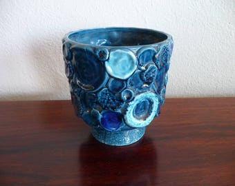 Mid Century Pottery Blue Textural Planter
