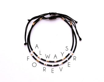 Morse Code Always Forever Couples Bracelet, His and Her Bracelet, Matching Couple Bracelet, Morse Code Jewelry