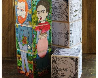 Color your Icons - Painters blocks. DIY Wooden block puzzle. Kahlo, Van Gogh, Klimt, Picasso, Dali, Warhol
