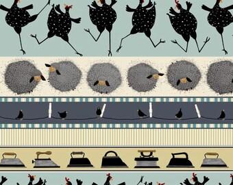 Farm Animal Fabric, Chicken, Sheep - Wash Day Stripe, Debi Hubbs, Studio E - 3624 77 - Priced by the Half yard