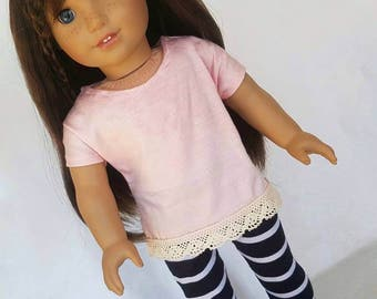18 inch doll clothes, American handmade, peach dolman shirt with lace and blue white striped leggings, 18 inch doll, trendy doll clothes