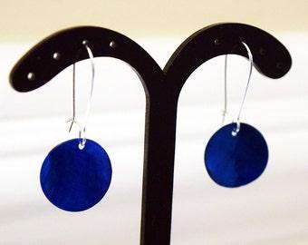 Pretty Blue Shell Disc Silver Plated Earrings