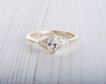 Solid 10K Yellow gold ring with Marquise and Trillion cut Lab Diamonds - handmade engagement ring
