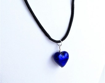 Heart pendant cobalt royal blue Murano glass flamework small