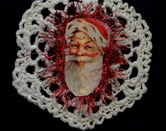 Vintage Crochet Christmas Ornament with Victorian Die Cuts and Vintage Tinsel