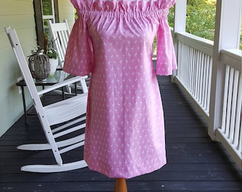 Women's Dress the Derby dress in Pink flamingo off the shoulder dress custom made by Collyn Raye