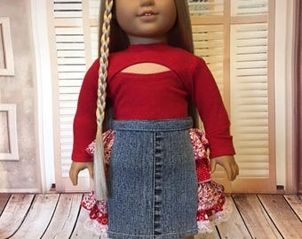 Ruffle Skirt and Top fits American Girl Doll and 18 inch dolls