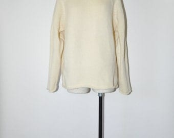 90s ivory chunky knit sweater / vintage oversize wool sweater / 1990s J Crew slouchy pullover