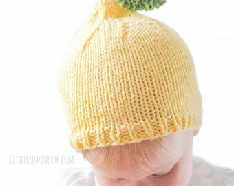 Lemon Baby Hat KNITTING PATTERN - knit hat pattern for babies, infants - sizes 0-3 months, 6 months, 12 months, 2T+
