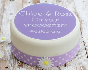 Engagement Cake Topper - personalised edible sugar cake decoration