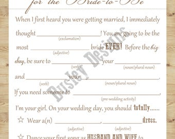 Bridal Shower Mad-Lib, Marriage Advice Cards, Country Bridal Shower Invitation, Country Bridal Shower Decorations, Rustic Bridal Shower