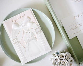 Wedding Ceremony Invitation, Bride and Groom Wedding Invitation Suite, Pink Wedding Invitations, Catholic Wedding Invites