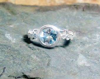 25% OFF March Birthstone Aquamarine Diamond Gemstone Sterling Ring