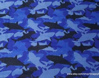 Flannel Fabric - Blue Camo Shark - 1 yard - 100% Cotton Flannel