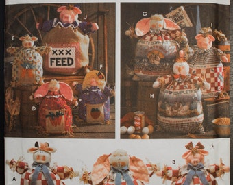 Simplicity Crafts 9612 Feed Sack Doll DIY Country Style Farm Animal Décor Sewing Pattern-Uncut