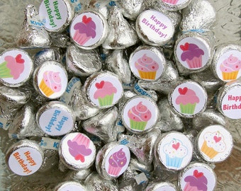Cupcake Birthday, Party Favor, Candy Stickers, Candy Labels, Happy Birthday, 108 Printed Stickers
