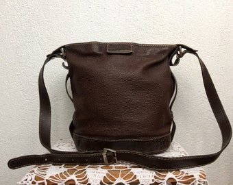 Brown Leather Bag, Crossbody Purse, Chocolate Shoulder Bag, Bucket Bag, Designer Bag, GFF Messenger, Postman Bag, Gianfranco Ferre Satchel
