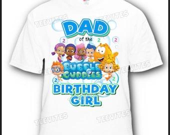 Dad of the Birthday Girl Bubble Guppies Disney T-Shirt #3