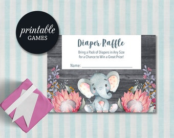 Elephant Diaper Raffle Card, Elephant Baby Shower Games Girl, Printable Diaper Raffle Ticket, Girl Baby Shower Games, Floral Diaper Raffle