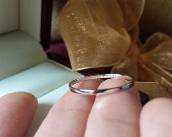 Personalized ring , solid 14kt rose gold thin band , solid 14kt white gold thin ring , solid 14kt yellow gold thin ring , thin band , date