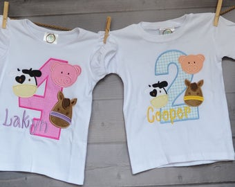 Personalized Birthday FarmTractor Cow Pig Horse Applique Shirt or Onesie Girl or Boy