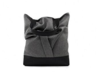 Gray Tote Bag, Vegan Handbag, Large Shopper Bag,Grey Shoulder Bag,Boho Tote Bag,Large Teacher Bag,Vegan Tote Bag,Gray Black Bag gray handbag