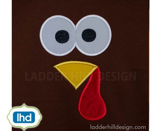 Turkey Face Thanksgiving Applique Embroidery ~ Cute Turkey Face Applique -- Turkey Applique TH007