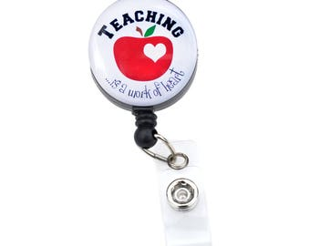 Teacher Badge Reel// Teacher Retractable Badge Holder/ ID Badge Clip