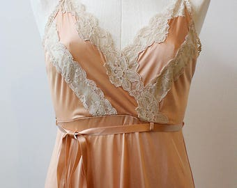 Peach Lace Midi Slipdress with Tie Waist - Small