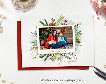 Christmas Card, Photo Christmas Card, Holiday Card, Floral Watercolor Gold, Merry Christmas, Happy Holidays, DIY Printable