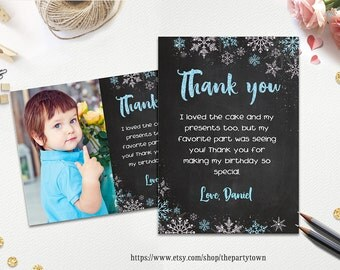 WINTER ONEDERLAND Thank you card, Snowflake note card,  Photo Winter Onederland thank you note, Personalized Printable pdf
