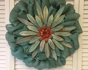 "Teal Wreath for Spring, Burlap Wreath, Spring Wreath, 18"" Teal Flower Wreath, Teal and Coral Wreath"
