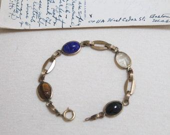 Vintage 12K Gold Filled Egyptian Revival Scarab Bracelet, Vintage Scarab Bracelet, Vintage Beetle Bracelet