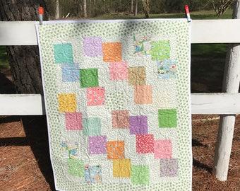 Baby Quilt, Vintage Nursery, Baby Blanket, Vintage Quilts, Baby Blanket, 1930s  Prints, Baby Gifts,  Baby Quilts, Bedding, Nursery, Retro