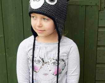 Handmade Crochet Cat hat, Black Cat hat,  Cat hat with pom pom, Kids hat, Girls hat, Character Hat, Pets hat