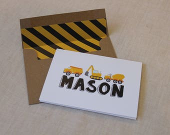 Construction Personalized Note Cards