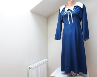Navy blue Dress Retro evening gown Vintage 1970s does 1930s handmade in Lithuania size M medium 2 pieces suit with jacket long sleeve