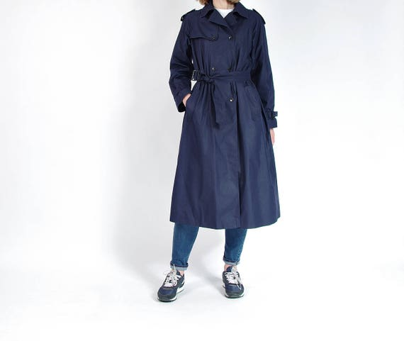 SALE 30% OFF - 80s Hummelsheim Navy Blue Street Style Trench Coat / Size M-L