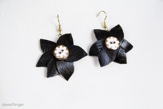 Long dangle earrings- black Rrbber flower with button, handcut from bicycle inner tubes