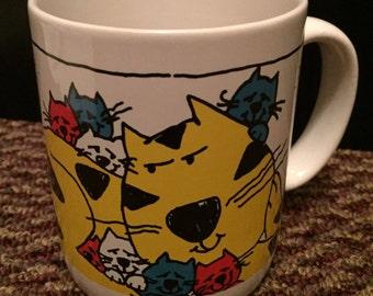 CAT MUG simple things cute mug vintage mug