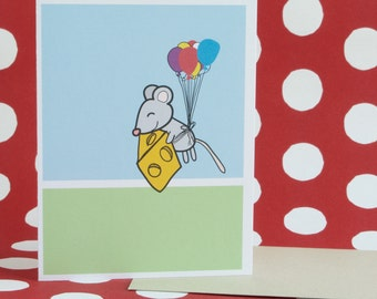 cute little mouse flying into the sky with balloons tied around itself and with cheese; for your birthday