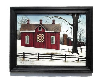 Billy Jacobs Quilt Barn, Lover's Knot Quilt Block Barn, Country Home Decor, Wall Hanging, Handmade, 28X22 Custom Wood Frame, Made in USA