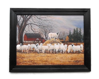 Country Decor, Sheep and Barn Picture, The Wool Gathering, Primitive Decor, Wall Hanging, Handmade, 28X22, Custom Wood Frame, Made in USA
