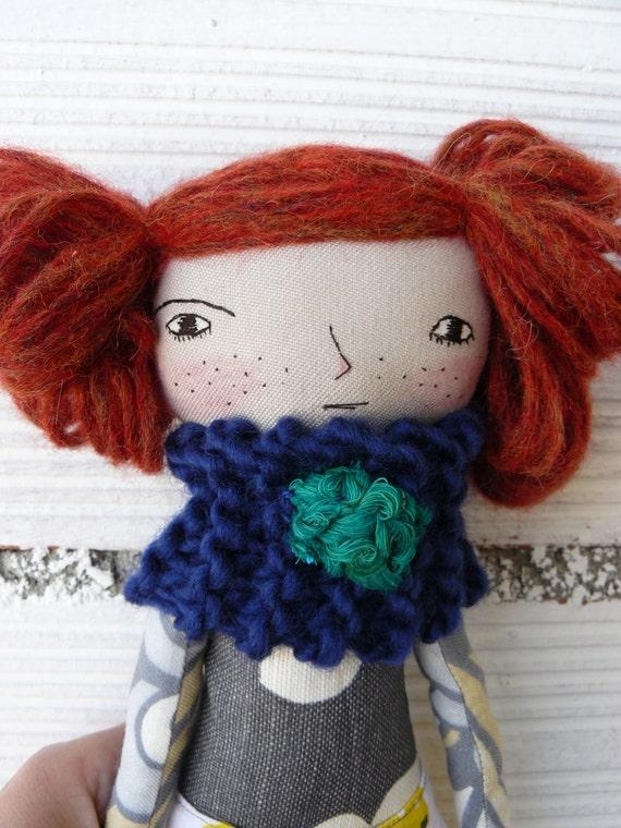 Art doll with alpaca and silk wool hair a. 32 cm