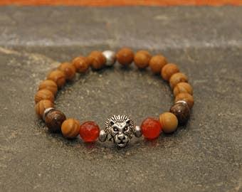 Gemstone Beaded Bracelet Men's Woodgrain Jasper, Bronzite and Fire Agate with Silver Lion Head